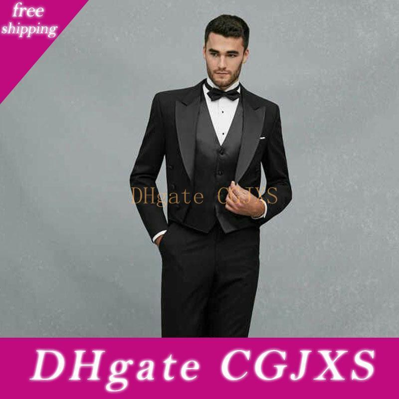 Последние дизайн черный фрак Свадебные Мужские костюмы Пик нагрудные Три пьесы Бизнес Groom Смокинги (куртка брюки жилет Tie) W1135