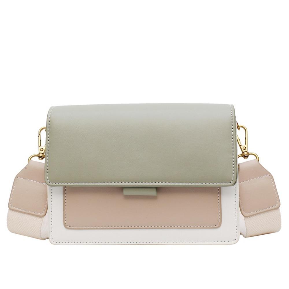 2020 Contraste de color bolsas de cuero Crossbody para las mujeres viaje bolso de la manera simple simple bolsa de hombro señoras de Cross Body Bag