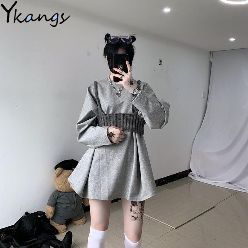Autunno 2Pcs Set maglia Vest Felpa donne Moda Top sexy allentato abiti selvaggio Hip Hop Plus Size Slim Pullover completa Nuova Manica