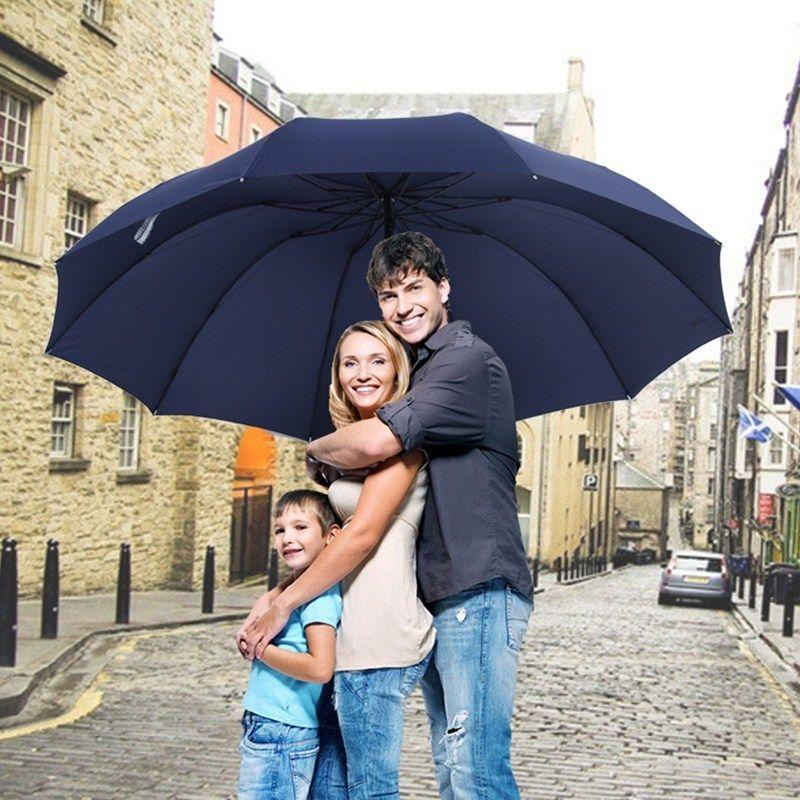 152cm Top-qualidade Umbrella Homens chuva Mulher Windproof Grande Paraguas Mulheres Sun 3 floding Família Big Umbrella Outdoor Parapluie T200117