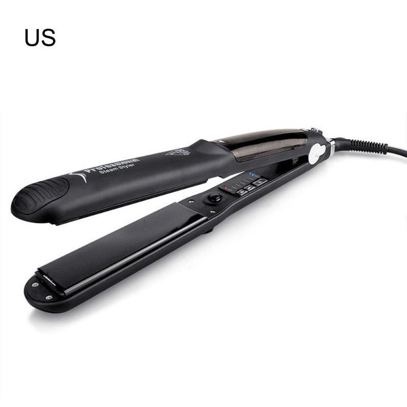 Steam Hair Straightener With Water And oil Steam Function Flat Iron Tourmaline Straightening Irons Hair Salon stema Black