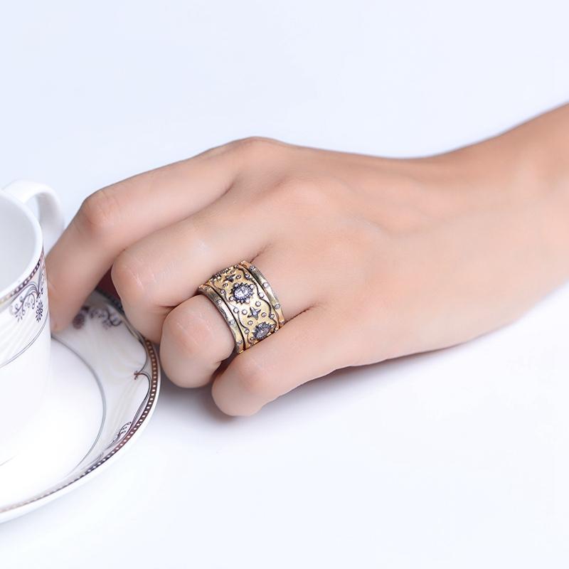 3pcs Silvology 925 prata esterlina 4A Zircon Multi-camada Anéis de ouro Palace Anéis de luxo para as mulheres jóias Zircon Wedding Gift T200905