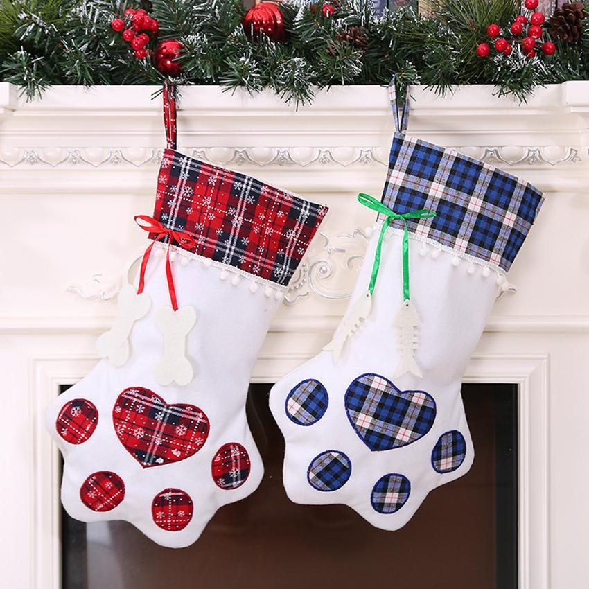 2 colori calze di Natale della decorazione della casa Accessori Plaid regalo di Natale Borse Dog Pet gatto zampa calza calzini Xmas Tree Ornaments DHE865