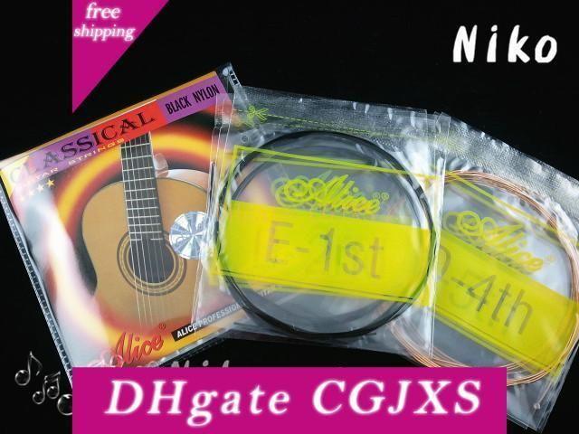 Alice A107bk -H nylon nero stringhe classica 1 ° -6 ° Guitar Strings Strings trasporto di commerci all'ingrosso