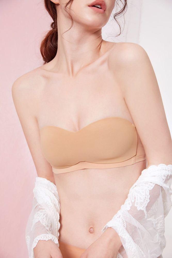 High-end Baimei strapless perfeita adesivo ofício simples moda Cruz lazer esportes bra Nova