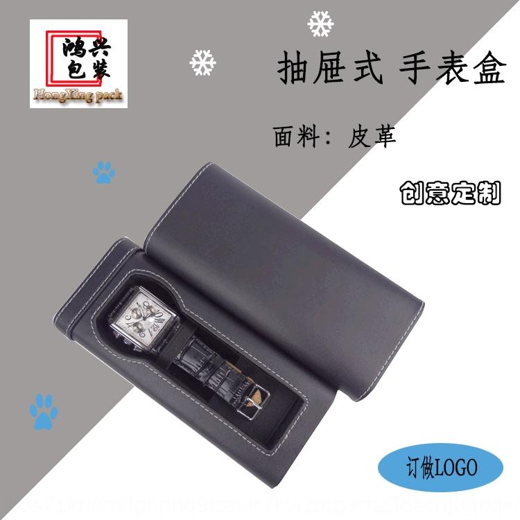 Exquisite customized drawer Watch Watch box box leather packing black printing gift long ZjoCC