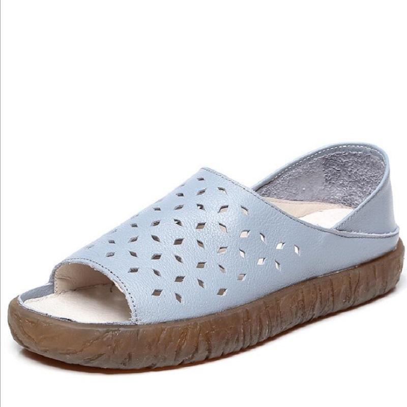 Verão New Retro respirável oco de costura Couro Sandálias Mulheres Peep Toe Deslizamento-em grávidas Sapatos Mulheres Buraco 20200602