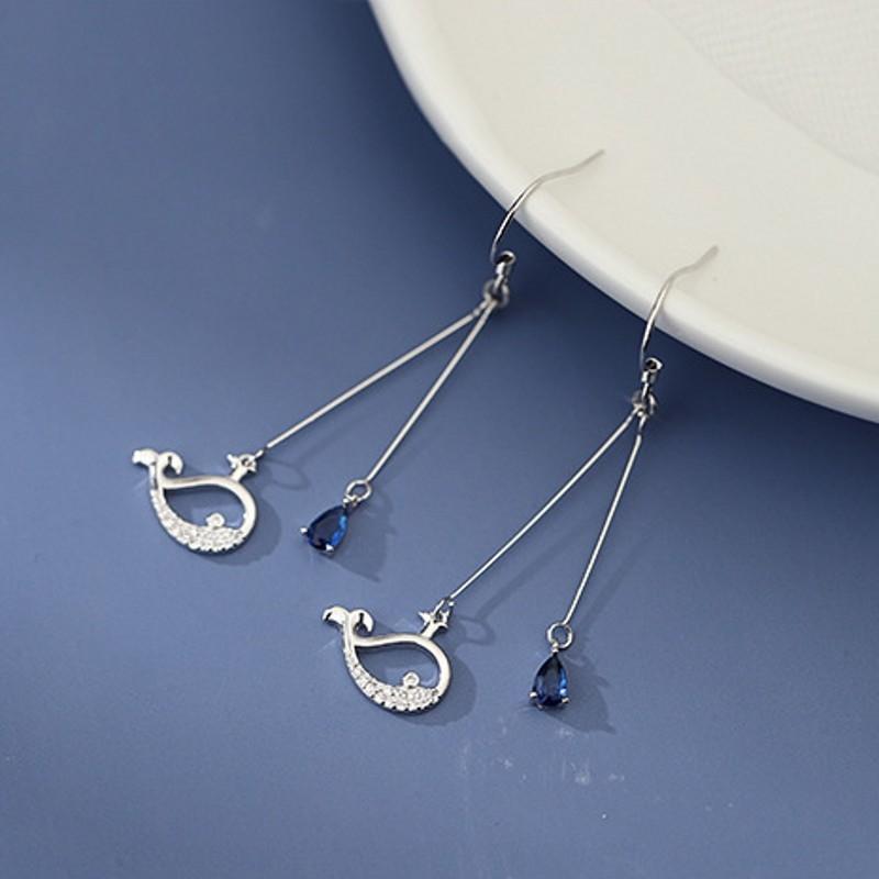 Расширенный смысл онлайн знаменитости кит S925 чистого серебро уха ювелирных изделий элегантных и длинная женской 2020 новых моды серьги серьга