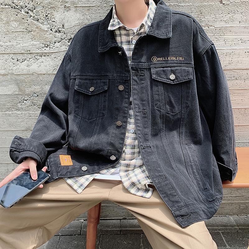 7XqkJ 2019 spring and personality men's casual fashion loose student jacket couple autumn denim jacket fashion jacket