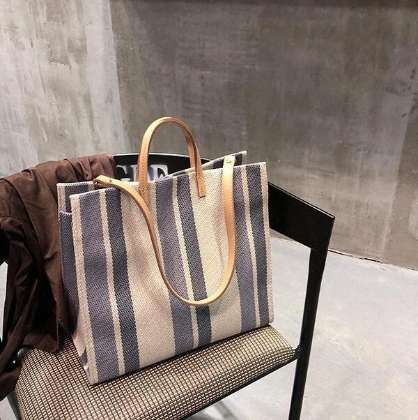 Großhandel Frauen Handbag Classic-Streifen Leinentaschen Designer Lady Schultertasche Corss Body Holiday Beach Bag Totes Günstige Designer Handta WZDh #