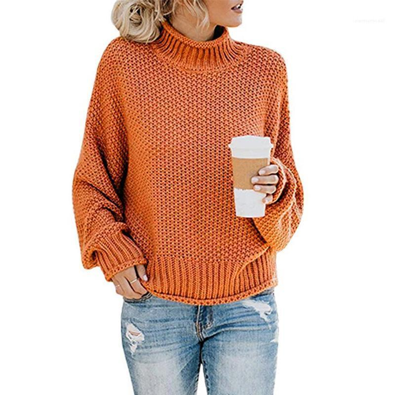 Свитер женщин конструктора сплошного цвета свитера Batwing рукава Высокий воротник моды Весна Осень Одежда женская повседневная