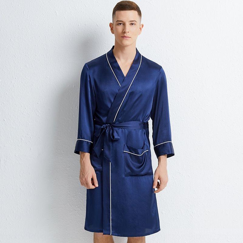 ZUWUi 2020 nueva primavera de la boda pijama de la ropa de los hombres de color sólido de seda camisón casa par de gama alta de la manga larga pijamas de seda de morera h de los hombres