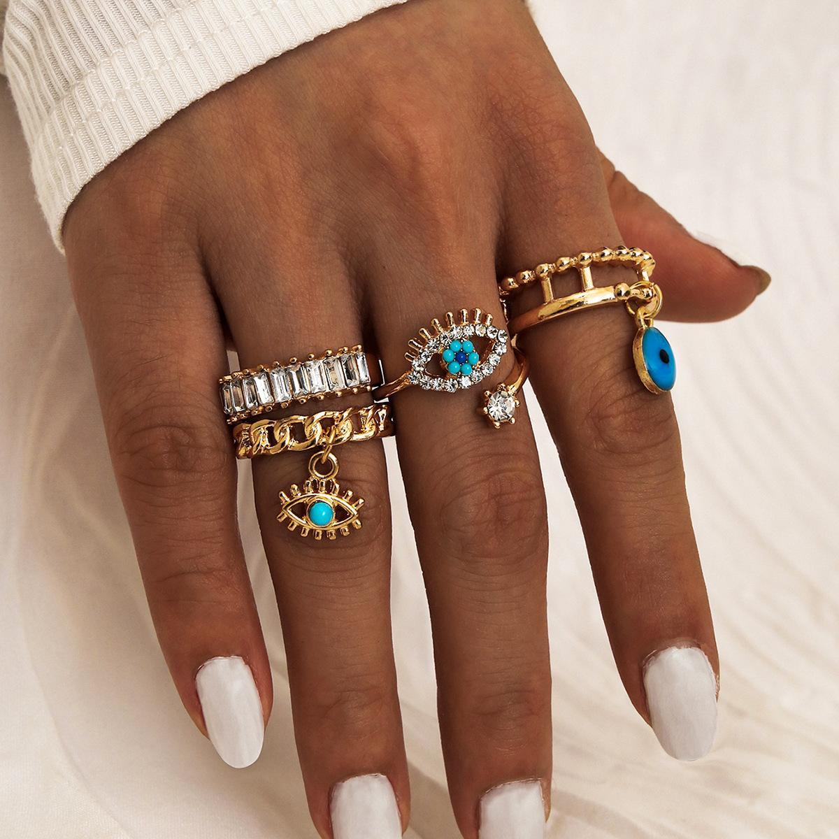 4pcs/set New Fashion Turquoise Diamond Finger Ring Women Girls 18k Glod Evil Eye Ring Jewelry Set