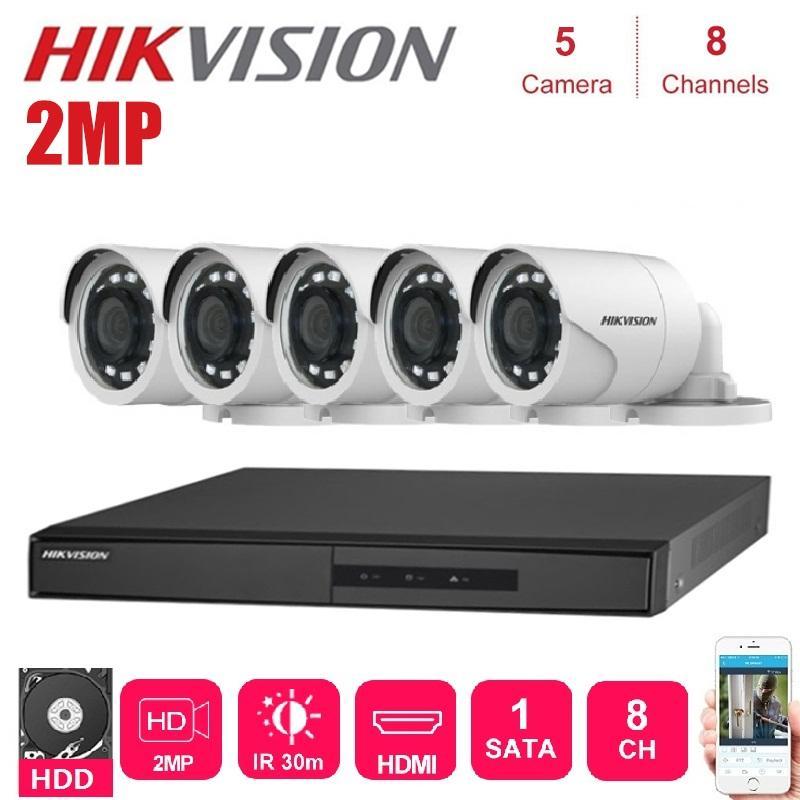 HIKVISION 5PCS OUTDOOR 2MP 4 IN 1 HD Nachtzicht Kamera erfüllt 8 Kanalenüberwachungsnetzwerk DVR CCTV Sicherheit Systeem-Kits