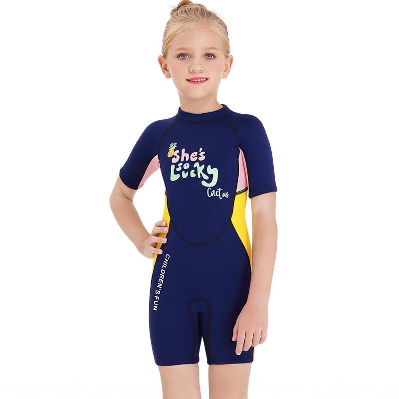 de una sola pieza de manga corta caliente de buceo traje de baño de natación de 2020 nuevos de 2,5 mm infantil para niñas engrosada cálido traje de buceo surf 64z5o 64z a prueba de sol