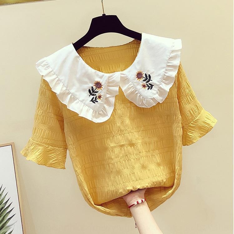 delle donne uE1YC bambola ricamato estate nuovo disegno della camicia 2020 senso coreano collare dolce del tutto-fiammifero ricamato camicia bambola allentata