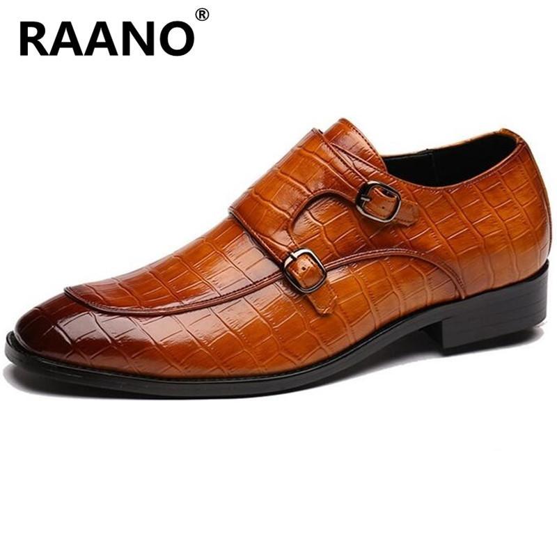 Big Size 37-48 Novas couro genuíno formal homens Sapatos Oxford Business forma masculino metal Buckle Pointed Toe Vestido de Noiva Sapatos