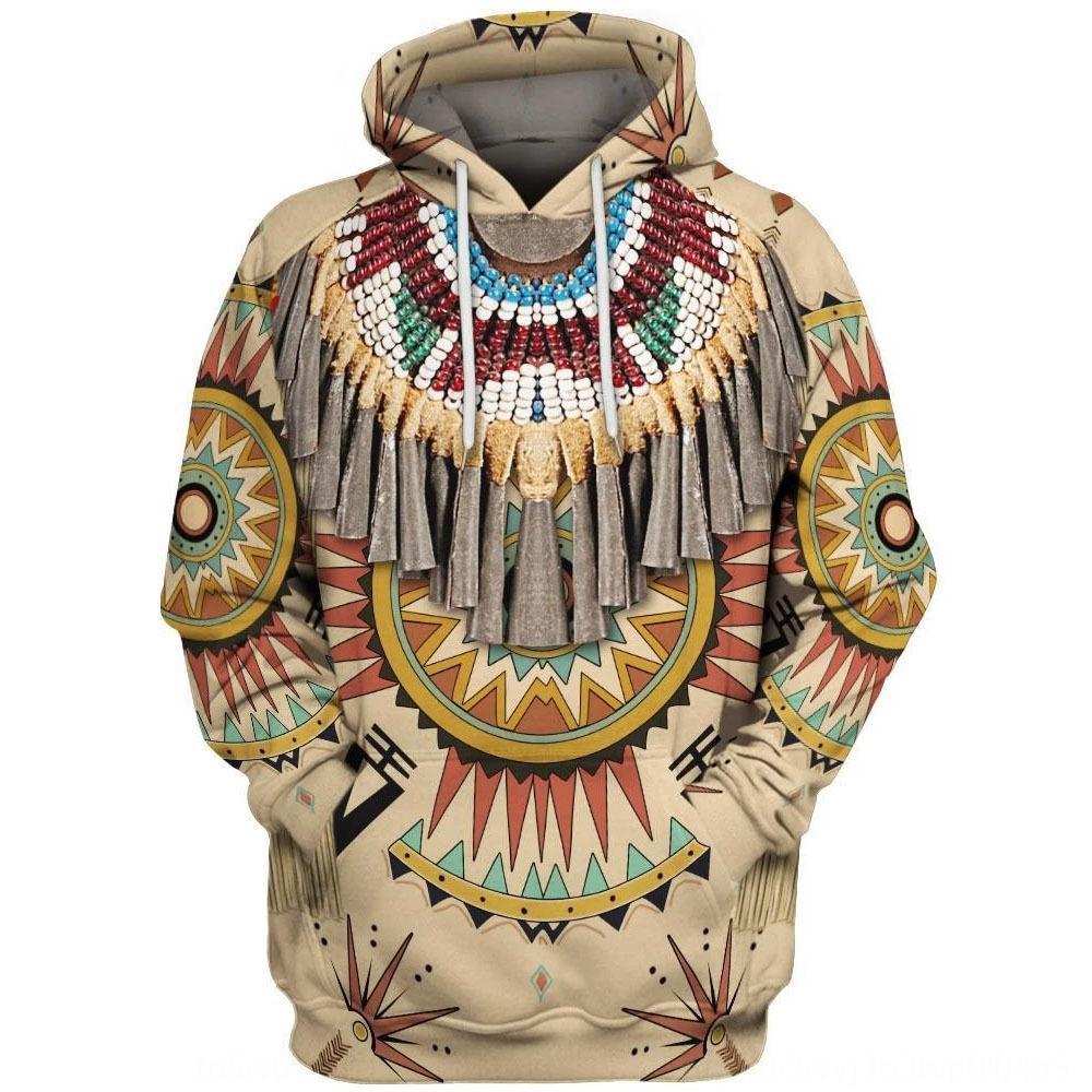 eZQQh indiano autunno gruppo di stampa stile usura e l'inverno incappucciati maglione degli uomini allentati casuali vestiti digitale Digital