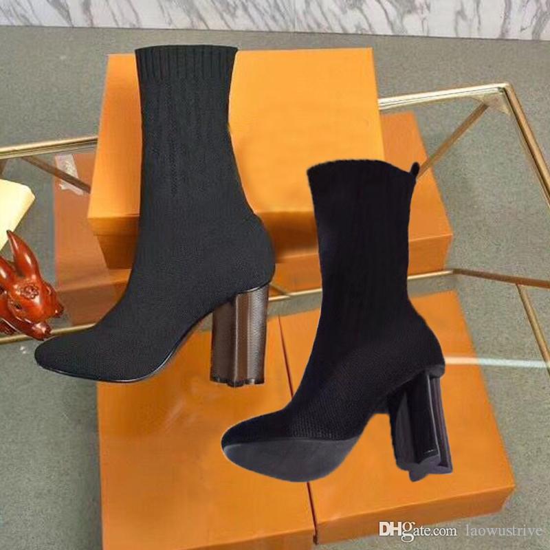 sexy moda inverno sapatos mulheres outono malha botas elásticas Designer curto botas de luxo sapatos Martin botas mulher de salto alto tamanho grande 42