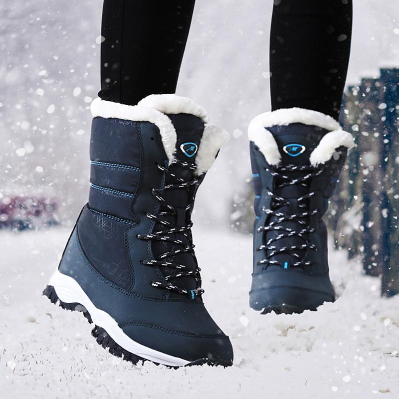 Las mujeres patea los zapatos de invierno impermeable de nieve de las mujeres Plataforma Botas Mantener caliente talones tobillo botas de invierno con piel gruesa Botas Mujer 2020