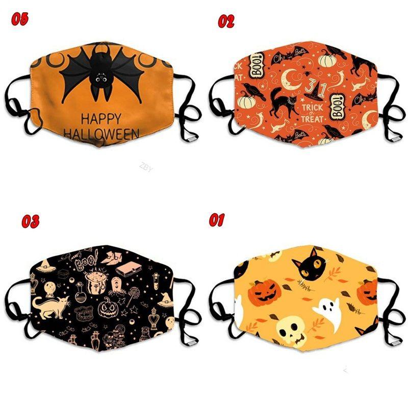 Mascherine del fantasma del gatto nero di zucca pipistrelli Happy Halloween Mascherine di polvere del fronte di modo personalizzato respiratore riutilizzabile respirabile Bambino adulti 3xbb C2