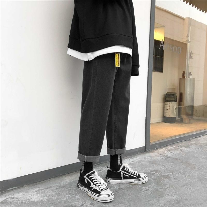 sueltos jeans de marca de moda padre de los hombres del otoño y primavera dtVZP rectas simples de la manera ocasional de nueve puntos pantalones vaqueros