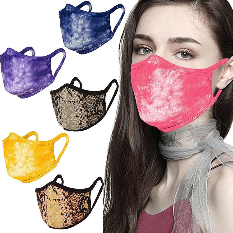 Cotton Cloth Fashion Face Masks PM2.5 Dustproof Masks Washable Tie-dyed Half Face Mouth Adult Breathable Cotton Masks
