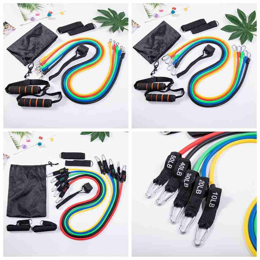 11pcs/set Pull Rope Fitness Exercises Resistance Bands Latex Body Training Workout Elastic Yoga Band Fitness Supplies CYZ2606 10Pcs