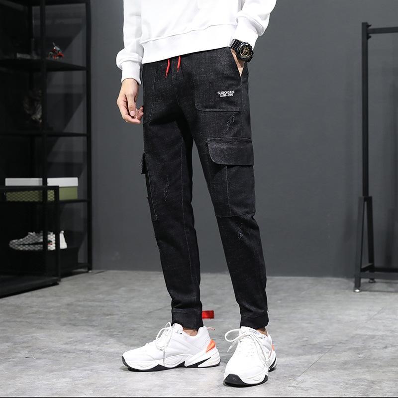 CAv3Y 2.019 homens inverno dos homens e jeans amarrada-tornozelo nova marca de moda tubo reto das calças de brim multi-bolso ferramental para o Outono