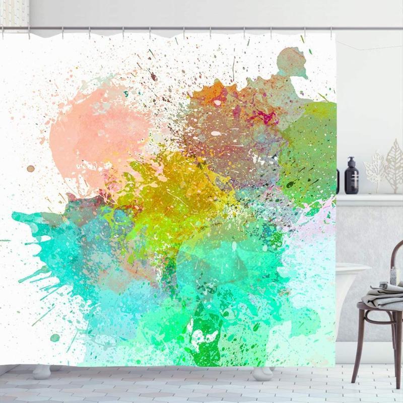 Duschvorhang für Badezimmer 72x72 Bunte Pinsel Grunge Aquarell-Fleck-Stains Spots Abstrakte Weinlese-Farben-Hand Ink Farbe