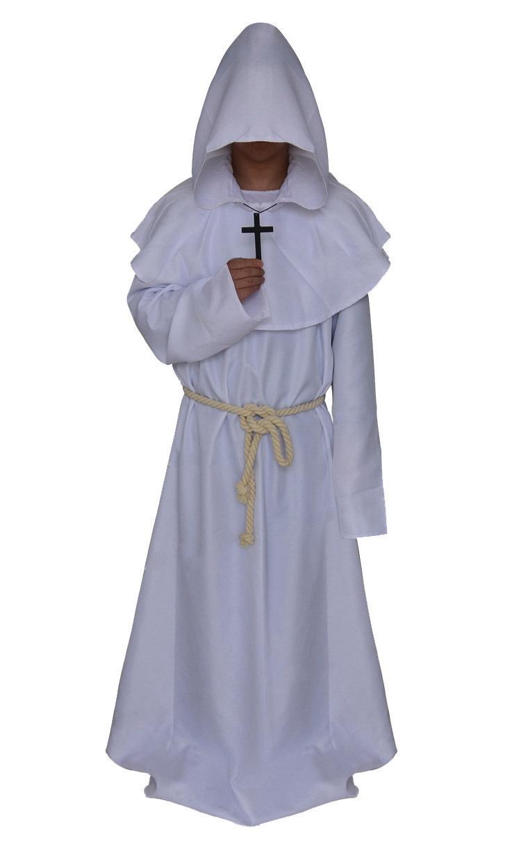 Cadılar Bayramı Cosplay kostüm ortaçağ keşiş cübbesi sihirbazı takım rahip elbise Hıristiyan uymak oyun animasyon rol oynama