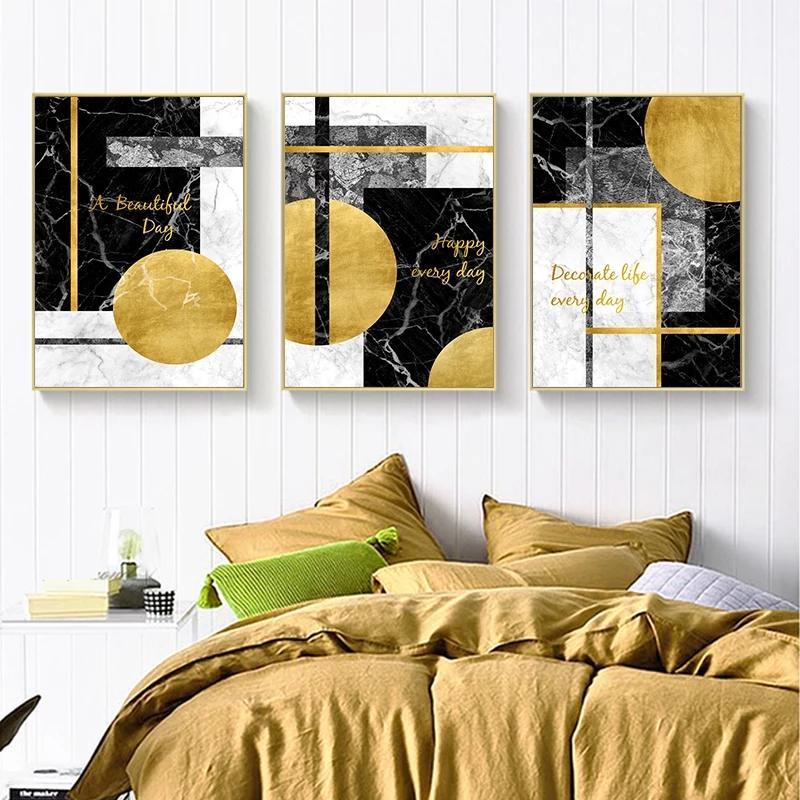 3 paneles de Oro Negro geométrica abstracta moderna de la lona de pintura Poster nórdicos y sala de estar imprime cuadros de la decoración del arte de la decoración