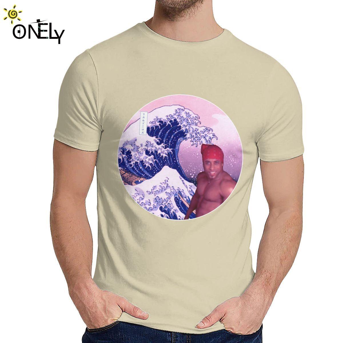 Camiseta de los hombres gran onda de Ricardo Milos Japón suave delgado de la novedad redondo clásico cuello de Harajuku Streetwear La Camiseta