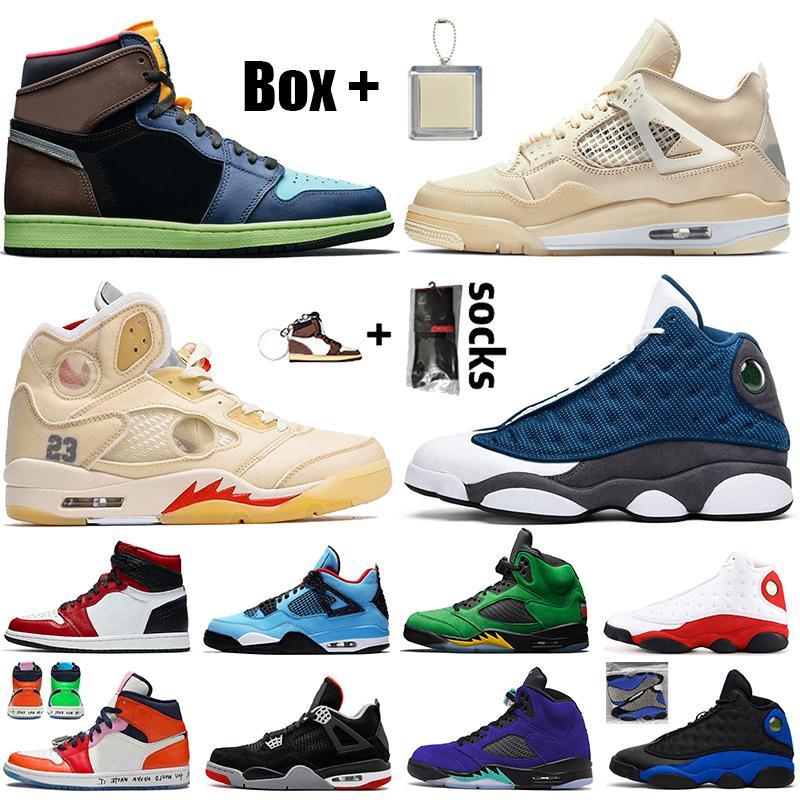des chaussures retro 1 off white x 4 sail 5 flint 13 avec boîte femmes hommes chaussures de basket High OG Bio Hack Chicago Travis scott 4s 5s baskets