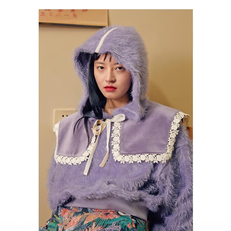 estilo e8Cpb preguiçoso senso de design nicho destacável velo colarinho de lã imitação capuz VG0901 lã mink marinha camisola das mulheres