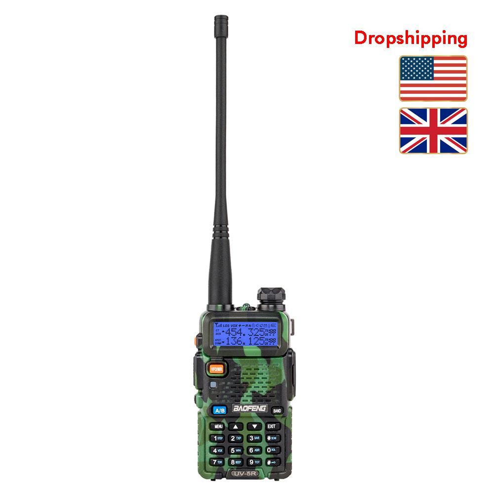 Stock à Radio US UK Baofeng UV-5R bi-bande talkie-walkie Camouflage Dropshipping analogique radio à deux voies Handheld UHF / VHF à longue portée