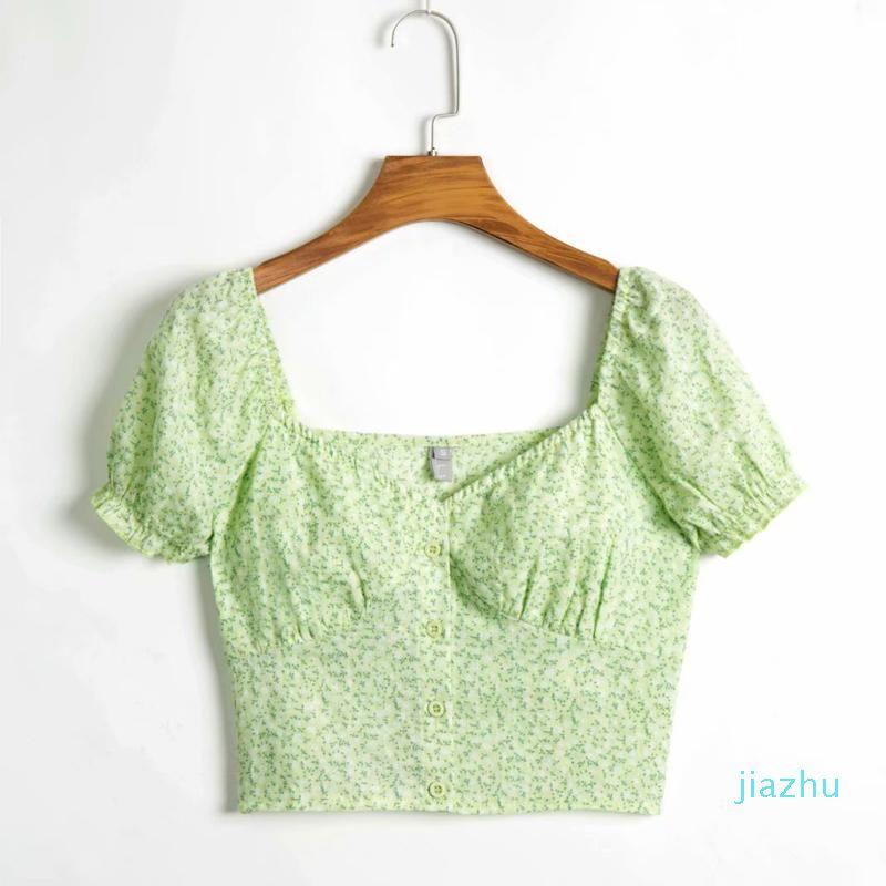 Hot Sale Summer crop top women's shirt flower print V-neck short-sleeved slim short shirt Summer Ladies Clothes S-L