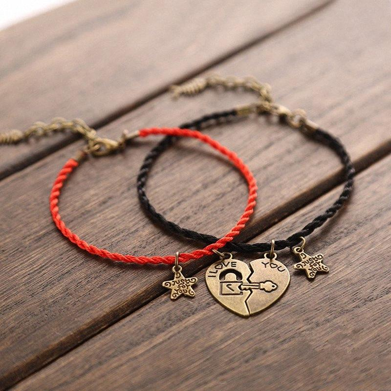 2 PCS/Set Couple Anklets for women and men Heart-shaped Stitching Charm Anklets Keys and Locks Black Red Rope Chain Lovers Gift UAaV#