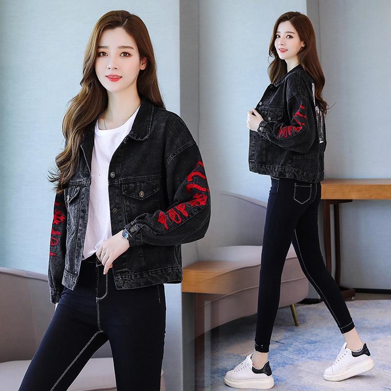 KfHX4 gvZNF Beiläufiges Denim der Frauen kurz 2019 Frühling und Herbst Jacke Stil koreanische gestickte lose bf Hong Kong Art und weise neuen Mantel Jacke