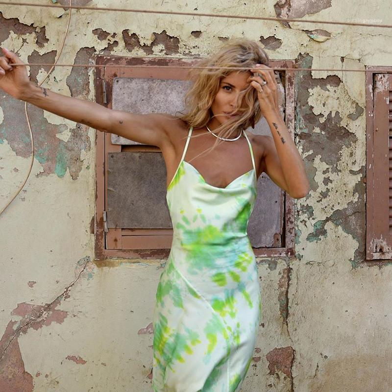 Vestidos para mujer Ropa para mujer Diseñador flora Impreso vestidos naturales de la manera del color vestidos largos sin mangas ocasional de la raya vertical del cuello