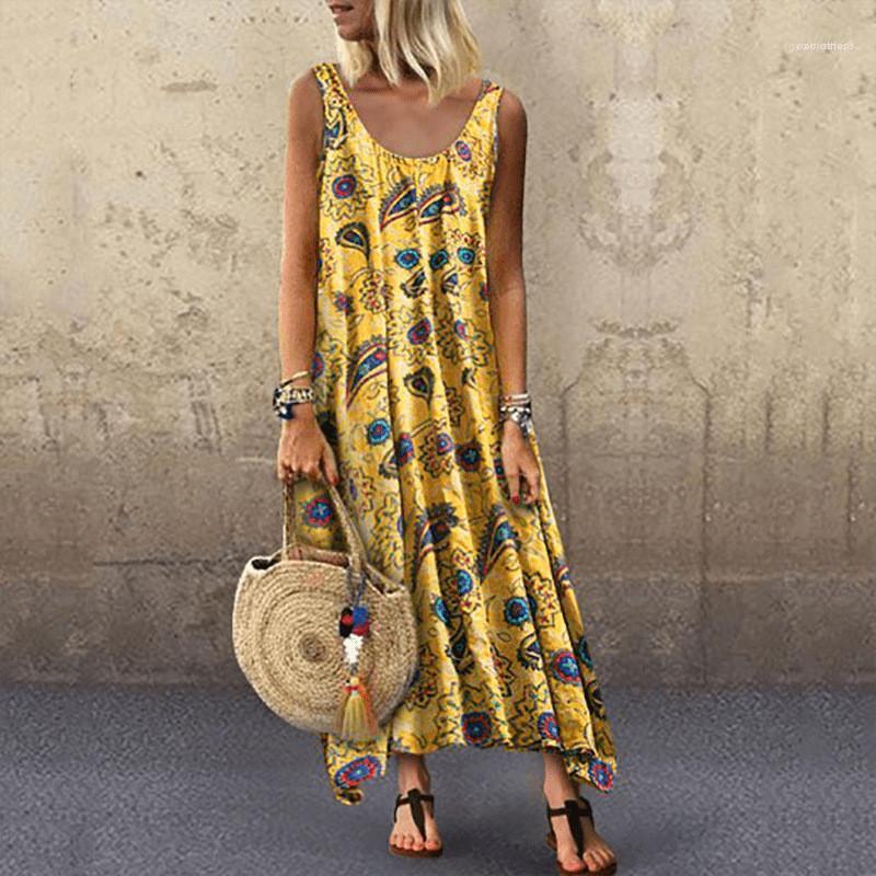 Pista Abiti Una linea casual Abbigliamento Donna senza maniche floreale estate Donne Abiti O Neck sciolti signore