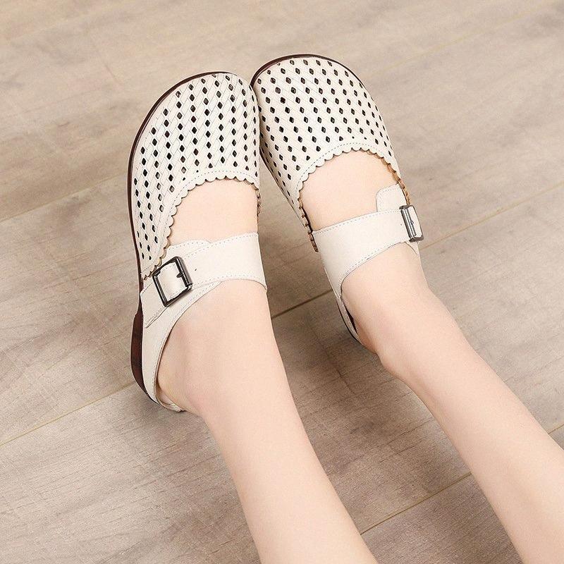 Tilocow 2020 Новый дизайн из натуральной кожи Wrap Toes тапочки женщин пряжки плоский с обувь Женщина ретро Повседневный Вне Слайды OmuA #