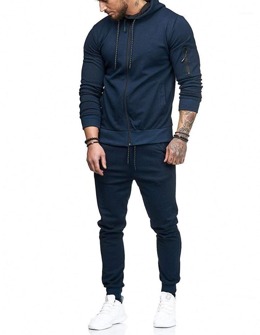 Trajes del deporte de la pista chandal Survetement para los hombres Mens chándales de sólidos de moda trajes de color hombres de los deportes Pantalon