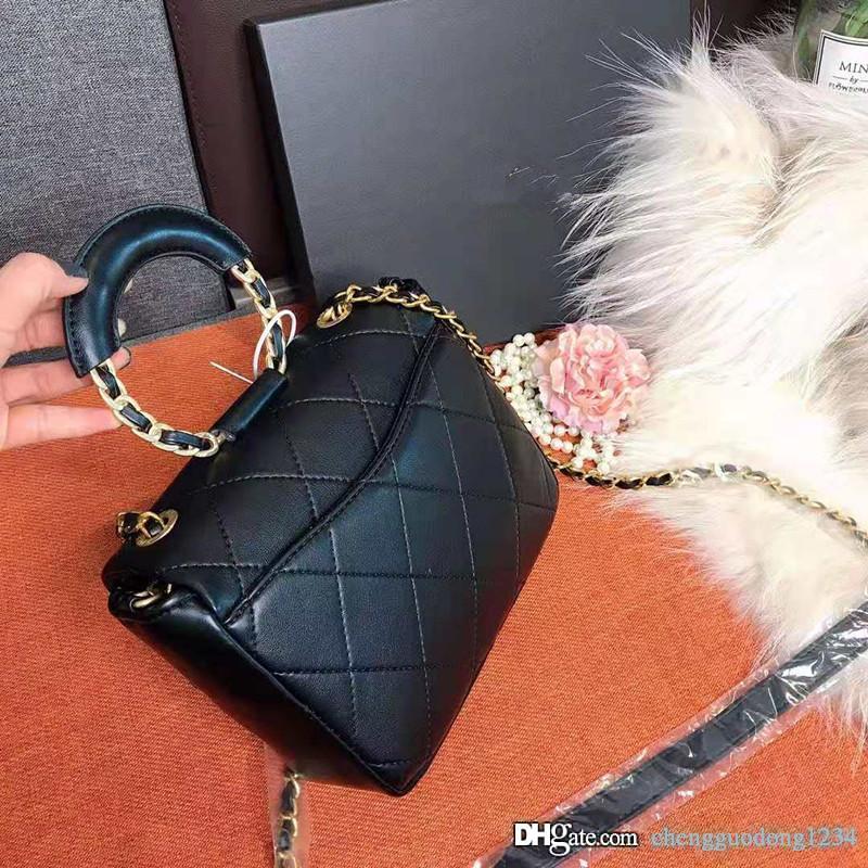 Sac à main en cuir véritable simple Sacs à bandoulière New 2020 Han édition Joker Oblique Satchel Chaîne Portable Mode de haute qualité Ensemble Femme