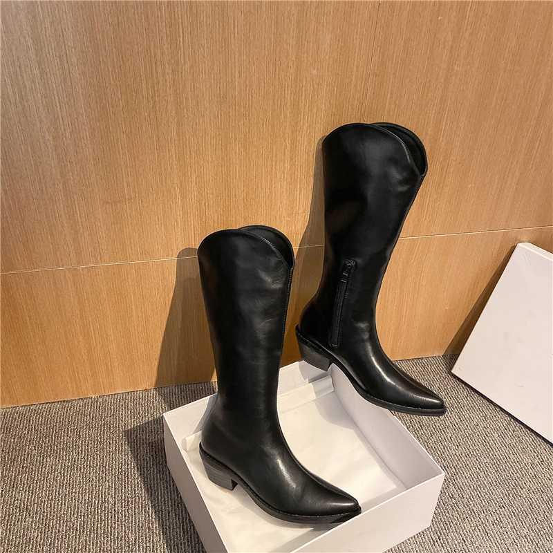 botas altas hasta la rodilla de invierno nuevo estilo mujeres del cuero genuino de los cargadores calientes de la motocicleta de vaca femenina occidental