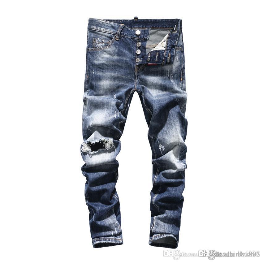 Nouveau 2019 Hole-in Jeans Hommes Rip Shorts Jeans Nightclub Light Blue Cotton Fashion Tight Pantalon Eté hommes DN43