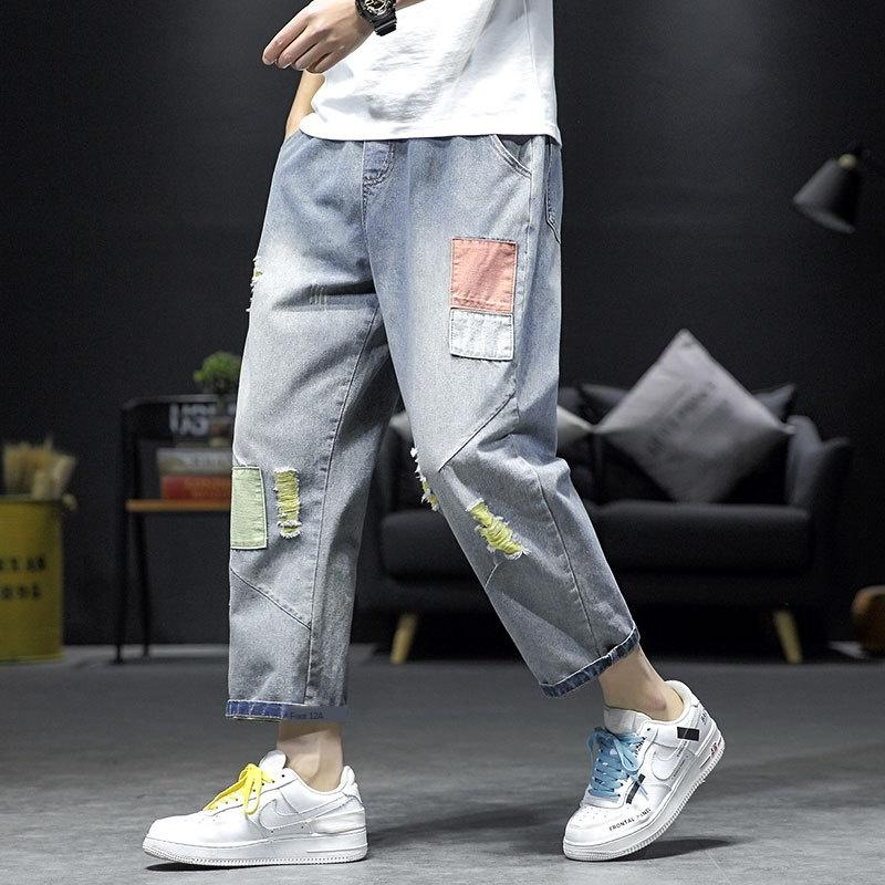 vBIl7 otoño agujero paño hasta los tobillos y pantalones vaqueros pantalones vaqueros recortados marca de moda los pantalones flojos rectos de los hombres de gran tamaño grasa mendigo pantalones