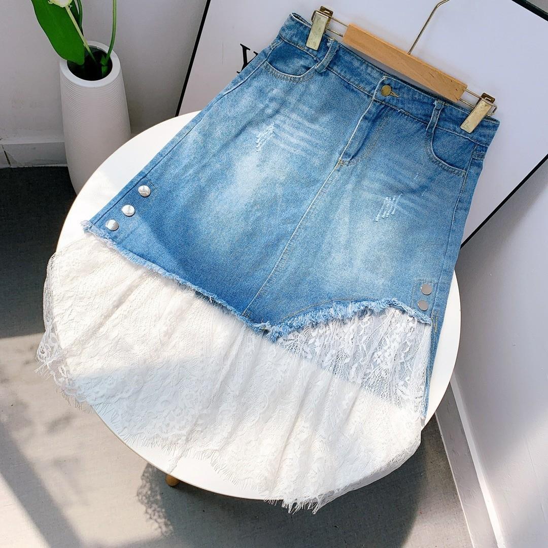 9mg2v M7 / 1801 сшивание середине Socialite сломанной Корейский полую большой джинсовой женской одежды джинсовой юбки размер юбка шнурка skirtLace