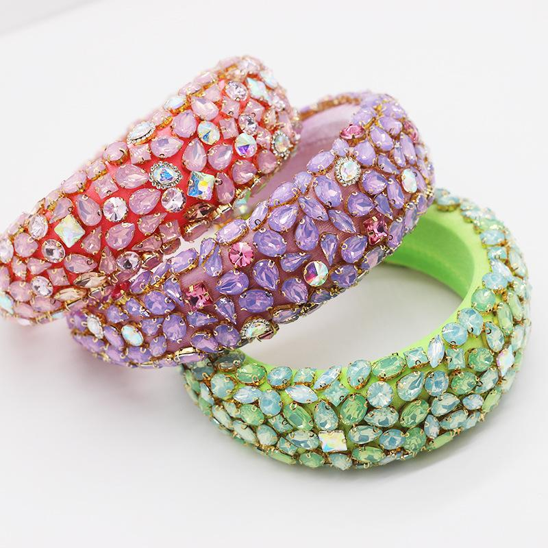 Barock volle Kristallstirnband-Haar-Bänder für Frauen bunten Diamant-Stirnband-Haar-Band-Art- und Weisepartei Schmuck Accessoires DHL-freien