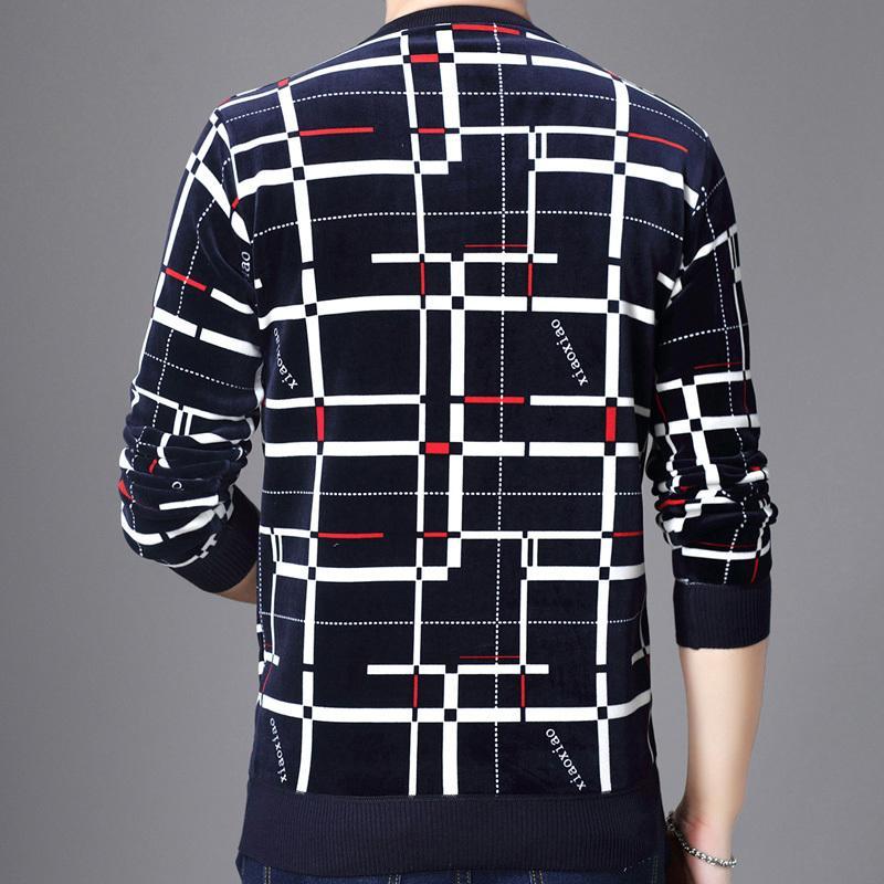 2020 nuevo diseñador de la tela escocesa de los hombres suéter de punto suéteres calientes Jersey para hombre de suéter para hombre grueso desgaste del invierno adelgazan los géneros de punto 53012 CX200818